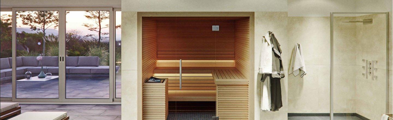 Helle moderne Sauna für Zuhause mit Glasfront für 2 bis 4 Personen im Bad