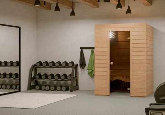 Kleine Sauna für Zuhause mit Glastür und ergonomischer Liege